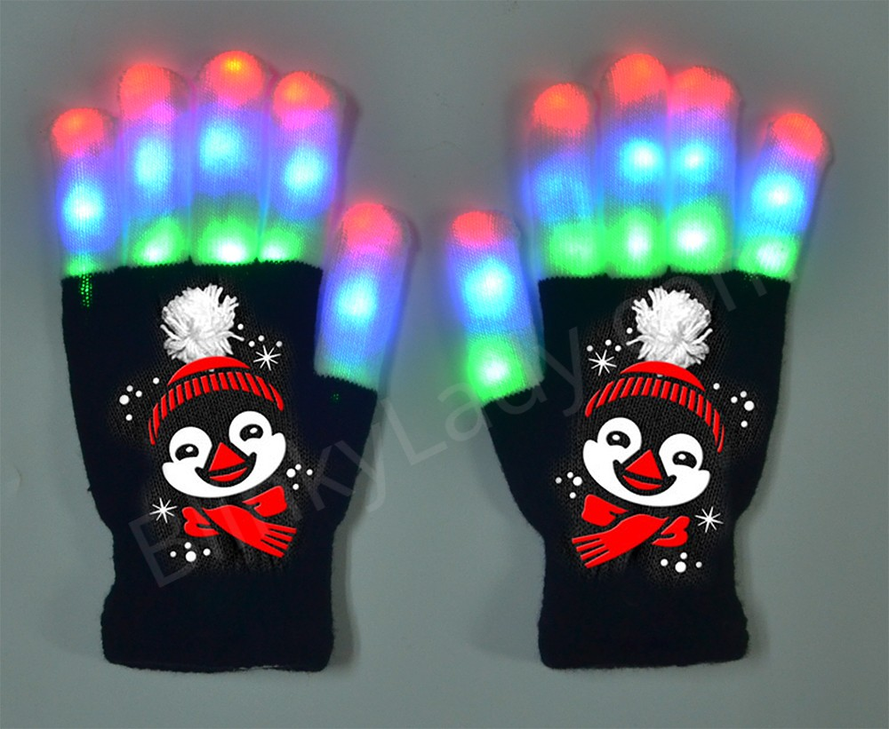 Light Up 6 Penguin Gloves With Holiday Hat Blinky Lady