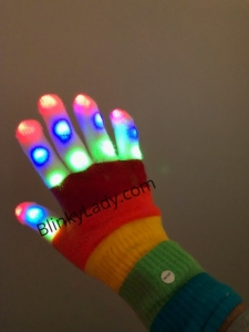 LED Light Up Rainbow Gloves